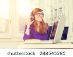 office girl doing some work on... | Shutterstock . vector #288545285