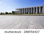 long empty footpath in modern... | Shutterstock . vector #288556427