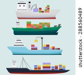cargo  trawler ships vector...   Shutterstock .eps vector #288560489