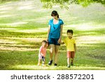 boys with family in the summer... | Shutterstock . vector #288572201
