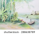 water color landscape painting  ... | Shutterstock . vector #288638789