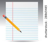 notebook paper and pencil | Shutterstock .eps vector #28865485