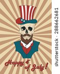 poster july 4th with a skull | Shutterstock . vector #288662681