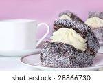 Lamington sponge cake.  Traditionally Australian. - stock photo