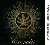 hemp cannabis leaf in vintage... | Shutterstock .eps vector #288690239