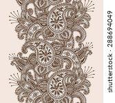 hand drawn henna mehndi...   Shutterstock .eps vector #288694049