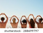 mixed race group of friends... | Shutterstock . vector #288699797