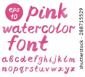 watercolor pink font isolated...   Shutterstock .eps vector #288715529