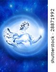 beautiful angel in blue light whirl over starry background - stock photo