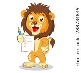 Cute Lion Holding Up His Grade...