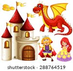 set of fairytales with dragon...