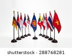 Small photo of AEC, Ten countries flags in the ASEAN region.