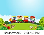 cartoon happy kids on a... | Shutterstock .eps vector #288786449