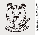 chinese zodiac tiger doodle... | Shutterstock .eps vector #288796607