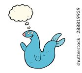 cartoon happy seal with thought ... | Shutterstock . vector #288819929