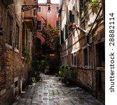 Old Yard In Venice . Old Brick...