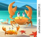 Cartoon Crabs At The Seashore
