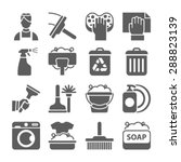 cleaning icon set isolated with ... | Shutterstock .eps vector #288823139