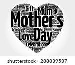 mother's day heart word cloud | Shutterstock .eps vector #288839537