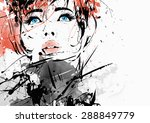 fashion girl in sketch style.... | Shutterstock . vector #288849779