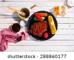 marinated spicy grilled rib eye ... | Shutterstock . vector #288860177