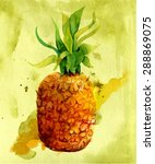 Watercolour Pineapple With A...