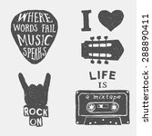 set of music hand drawn... | Shutterstock .eps vector #288890411