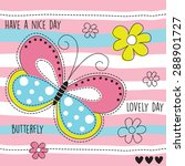 Stock vector butterfly and flowers vector illustration 288901727