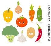 cartoon vegetables vector set...