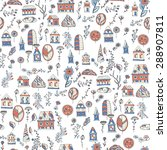 cute cartoon pattern with tiny... | Shutterstock .eps vector #288907811