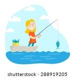 Happy Girl Fishing. Flat Desig...