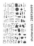 kitchenware. doodle set in... | Shutterstock .eps vector #288934499