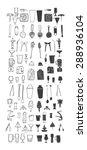 bartender stuff. big hand drawn ... | Shutterstock .eps vector #288936104