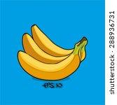 banana vector on blue... | Shutterstock .eps vector #288936731