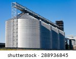 four silver silos in corn field | Shutterstock . vector #288936845