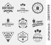 happy birthday vintage labels... | Shutterstock .eps vector #288959999