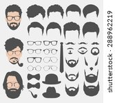 different hipster style haircuts, glasses, beard, mustache, bowtie and hats collection. man faces avatar creator. create your own hipster icons for social media or web site | Shutterstock vector #288962219