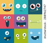 cartoon monster faces vector... | Shutterstock .eps vector #288962747