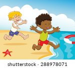 kids playing on the beach   Shutterstock .eps vector #288978071