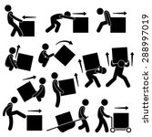 man moving box actions postures ... | Shutterstock .eps vector #288997019