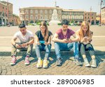 young people looking down at... | Shutterstock . vector #289006985