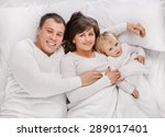 above view of a family lying on ... | Shutterstock . vector #289017401