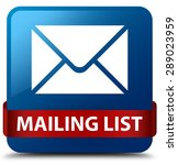 mailing list blue square button | Shutterstock . vector #289023959