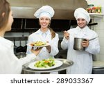 team of chefs and young waiter... | Shutterstock . vector #289033367
