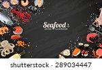 seafood background with fish... | Shutterstock .eps vector #289034447