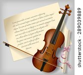 Violin With A Paper Sheet On A...
