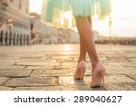 fashionable woman wearing high... | Shutterstock . vector #289040627