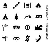 Vector black camping icon set.