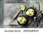 green tea ice cream with mint... | Shutterstock . vector #289068905