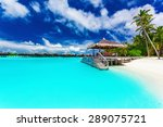 jetty and palm trees with steps ...   Shutterstock . vector #289075721